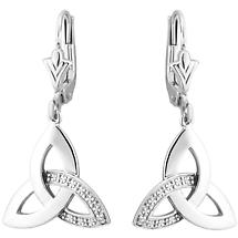 Celtic Earrings | 14k White Gold with Diamonds Trinity Knot Drop Earrings