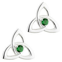 Irish Earrings | Sterling Silver Green Crystal Celtic Trinity Knot Stud Earrings