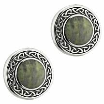 Celtic Earrings | Sterling Silver Celtic Knot Connemara Marble Round Earrings