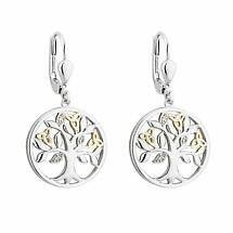 Irish Earrings | Diamond Sterling Silver and 10k Yellow Gold Drop Celtic Tree of Life Earrings