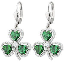 Irish Earrings | Sterling Silver Crystal Emerald Drop Shamrock Earrings