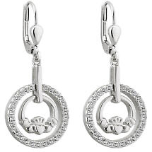 Claddagh Earrings - Sterling Silver Round Claddagh Drop Irish Earrings