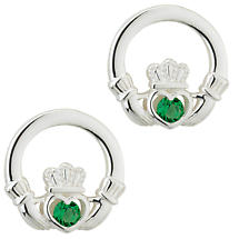 Irish Earrings - Sterling Silver Green Crystal Stud Claddagh Earrings