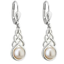 Irish Earrings - Sterling Silver Pearl Celtic Knot Drop Earrings