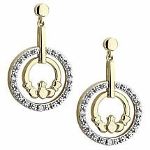 Irish Earrings | 14k Gold Diamond Circle Claddagh Earrings