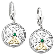 Irish Earrings | 10k Gold & Sterling Silver Trinity Knot Crystal Drop Celtic Earrings