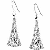 Irish Earrings | Sterling Silver Trinity Knot Celtic Note Earrings
