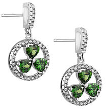 Irish Earrings | Sterling Silver Green Crystal Shamrock Drop Earrings