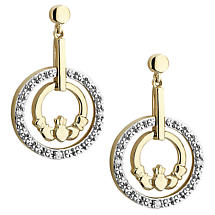 Irish Earrings | 10k Gold Diamond Circle Claddagh Earrings