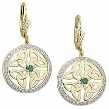 Irish Earrings | 10k Gold Diamond & Emerald Trinity Knot Celtic Earrings