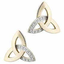 Irish Earrings | 10k Gold Diamond Trinity Knot Celtic Stud Earrings