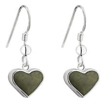 Irish Earrings | Sterling Silver Connemara Marble Heart Earrings