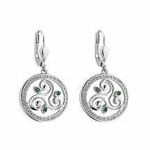 Irish Earrings | Sterling Silver Crystal Round Drop Celtic Spiral Triskele Earrings