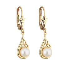 SALE - Irish Earrings - 14k Yellow Gold Trinity Knot Pearl Celtic Earrings