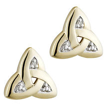 Irish Earrings | 14k Gold Diamond Trinity Knot Stud Earrings