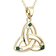 Irish Necklace | 14k Gold Diamond & Emerald Trinity Knot Celtic Pendant