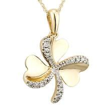 Irish Necklace | 14k Gold Diamond Shamrock Pendant