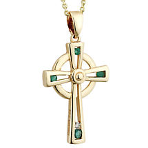 Irish Necklace | 14k Gold Emerald & Diamond Celtic Cross Pendant