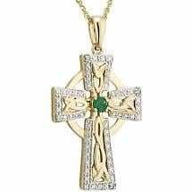 Irish Necklace | 14k Gold Diamond & Emerald Celtic Cross Pendant
