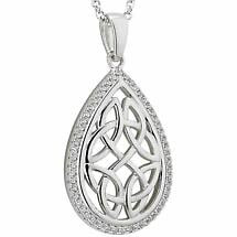 Celtic Necklace - Sterling Silver Oval Trinity Knot Irish Pendant