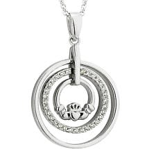 Irish Necklace - Sterling Silver Crystal Round Claddagh Pendant