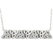 Irish Necklace - Sterling Silver Crystal Trinity Knot Necklet