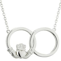 Irish Necklace - Sterling Silver Circle Claddagh Pendant
