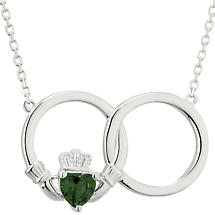 Irish Necklace - Sterling Silver Circle Claddagh Crystal Pendant