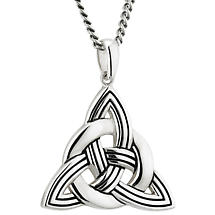 Irish Necklace | Sterling Silver Large Heavy Trinity Celtic Knot Pendant