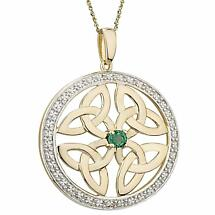 Irish Necklace | 14k Gold Emerald & Circle Trinity Knot Celtic Pendant