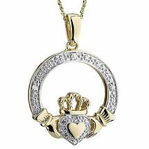 Irish Necklace   14k Gold Heart Diamond Claddagh Pendant