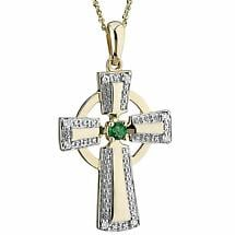 Irish Necklace | 14k Yellow & White Gold Diamond Emerald Celtic Cross Pendant