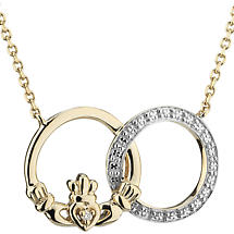 Irish Necklace | 14k Yellow & White Gold Unity Diamond Claddagh Pendant