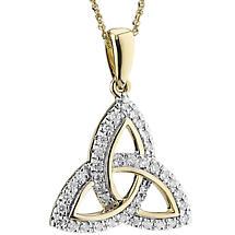 Irish Necklace | 14k Gold Diamond Encrusted Trinity Knot Pendant