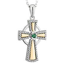 Irish Necklace | 10k Gold Sterling Silver & Diamond Celtic Cross Emerald Pendant