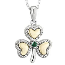 Irish Necklace | 10k Gold Sterling Silver & Diamond Shamrock Emerald Pendant