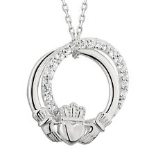 Irish Necklace | Sterling Silver Crystal Circle Claddagh Pendant