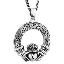 Mens Irish Jewelry | Sterling Silver Celtic Claddagh Pendant