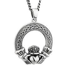 Mens Irish Jewelry   Sterling Silver Celtic Claddagh Pendant