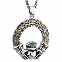 Mens Irish Jewelry | Sterling Silver & 10k Gold Celtic Claddagh Pendant