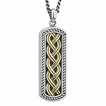 Mens Irish Jewelry | Sterling Silver & 10k Gold Ingot Celtic Knot Pendant