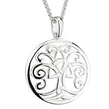 Irish Necklace | Sterling Silver Trinity Knot Celtic Tree of Life Circle Pendant