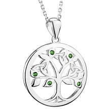 Irish Necklace | Sterling Silver Green Crystal Celtic Tree of Life Pendant