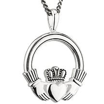 Irish Necklace | Sterling Silver Large Oxidized Claddagh Pendant