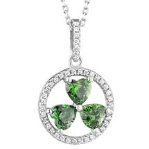 Irish Necklace | Sterling Silver Green Crystal Shamrock Pendant