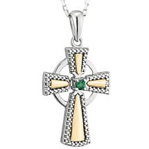 Irish Necklace | 10k White & Yellow Gold Diamond & Emerald Celtic Cross Pendant