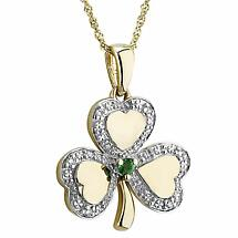 Irish Necklace | 10k White & Yellow Gold Diamond & Emerald Shamrock Pendant