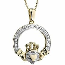 Irish Necklace | 10k Gold Heart Diamond Claddagh Pendant