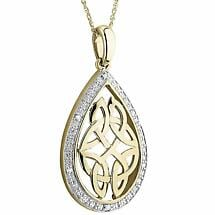 Irish Necklace | 10k Gold Diamond Trinity Knot Oval Pendant
