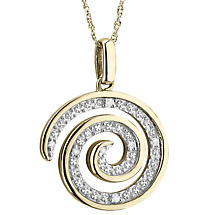 Irish Necklace | 10k Gold Diamond Celtic Spiral Pendant